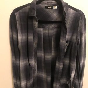 Urban Outfitters Grey and Blue Flannel Button Down